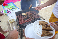 Barbecue  at the beach Stock Photo