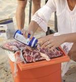 Barbecue  at the beach Stock Photos