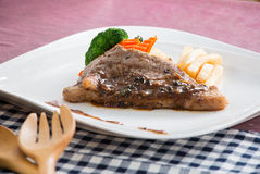 Barbecue beef steak. Homemade Barbecue beef steak on the table Stock Image