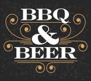 Barbecue & Bierembleem Royalty-vrije Stock Afbeelding