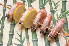 Barbecue of big prawns Stock Photography
