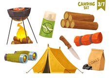 Barbecue binoculars tent knife camp mat mosquito repellent firewood camping set. Vector stock illustration