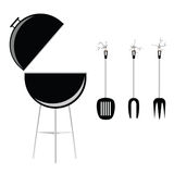 Barbecue black art vector illustration. Barbecue vector illustration on a white background with utensil Stock Photo