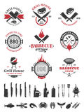 Barbecue black and red logo and labels Stock Image