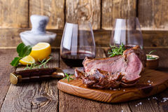 Barbecue bone ribeye steak on wooden board Royalty Free Stock Photos