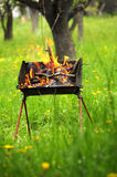 Barbecue box with fire and burning woods. Barbecue box with fire and burning wood, over a garden background Stock Photo