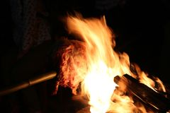 Barbecue. Broil lamp in fire Stock Images