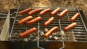 Barbecue browned sausages on the hot grill, turn. Barbecue browned sausages on the hot grill, a person turn and put stock footage
