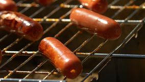 Barbecue browned sausages on the hot grill, turn. Barbecue browned sausages on the hot grill, a person turn and put, close up stock footage