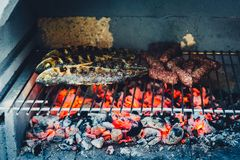 Barbecue in built barbecue grill fireplace with fish and chevaps. Concrete bbq fireplace back yard fireplace in Croatia royalty free stock photo