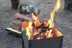 Barbecue with burning firewood Royalty Free Stock Images