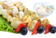 Barbecue with calamari and fish Royalty Free Stock Photography