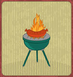 Barbecue card with sausage and flame Royalty Free Stock Image