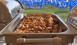 Barbecue catering. Patio picnic shashlik. food warmer Stock Photography