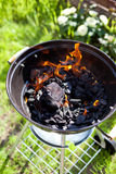 Barbecue charcoal in fire, preparing for grilling Royalty Free Stock Images