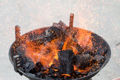 Barbecue, charcoal and Flames of Fire Stock Photos