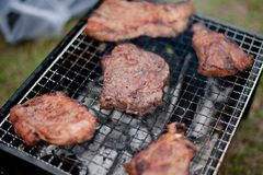 Barbecue charcoal grill. Grilling delicious variety of meat on barbecue charcoal grill Stock Photo