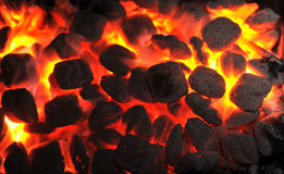 Barbecue charcoals in portable grill Royalty Free Stock Image
