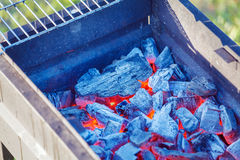 Barbecue Charcoals with Red Glow and Fire Royalty Free Stock Image