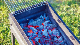 Barbecue Charcoals with Red Glow and Fire Royalty Free Stock Photography