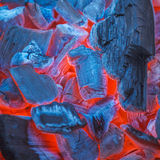 Barbecue Charcoals with Red Glow and Fire Stock Photo