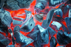 Barbecue Charcoals with Red Glow and Fire Royalty Free Stock Photos
