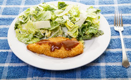 Barbecue Chicken Breast and Caesar Salad Royalty Free Stock Photography