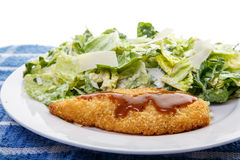 Barbecue Chicken Breast with Caesar Salad Stock Images