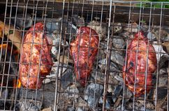 Barbecue.chicken on the grill Stock Photos