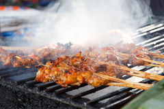 Barbecue with chicken  on grill Royalty Free Stock Photo