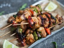 Barbecue of chicken on skewers royalty free stock photography