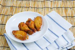 Barbecue chicken wing on white plate Royalty Free Stock Image