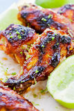 Barbecue Chicken Wings. Close up of some hot and spicy barbecue chicken wings royalty free stock images