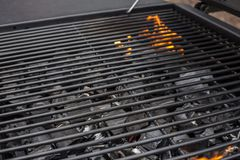 Barbecue clean grate, empty. Hot grill royalty free stock photography