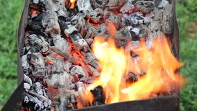 Barbecue with coal prepared for barbecue stock footage