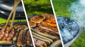 Barbecue Collage In Green Garden stock images