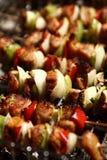 Barbecue con gli spiedi della carne Fotografia Stock Libera da Diritti