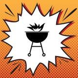 Barbecue con il segno del fuoco Vettore Icona di stile dei fumetti sulle sedere di Pop art illustrazione di stock