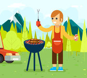 Barbecue cook background nature forest mountains Stock Photography