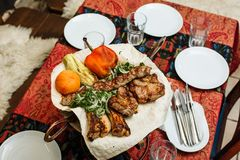 Barbecue, cooked different meat with grilled vegetables royalty free stock images