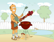 Barbecue cooking royalty free illustration