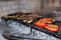 Barbecue cooking on the coals royalty free stock image