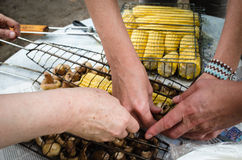 Barbecue cooking corn Royalty Free Stock Photography