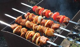 Barbecue cooking. Meat preparation on a brazier. The grilling outdoors. Delicious kebabs Royalty Free Stock Photos
