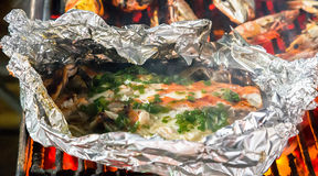 Barbecue cooking seafood. Royalty Free Stock Photo
