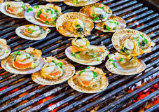 Barbecue cooking seafood. Royalty Free Stock Photography