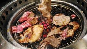 Barbecue coreano di stile con carne Fotografia Stock Libera da Diritti