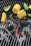Barbecue Corn and Paprika. BBQ. Yellow corn and green paprika on grill.Summer dinner Stock Photo