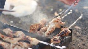 Barbecue d'été ou de ressort avec les nervures et le poulet banque de vidéos
