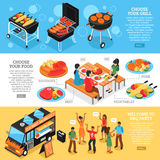 Barbecue 3d Isometric Banners Set. Set of 3d isometric banners with barbecue equipment grilled meat and vegetables bbq party  vector illustration Stock Photos